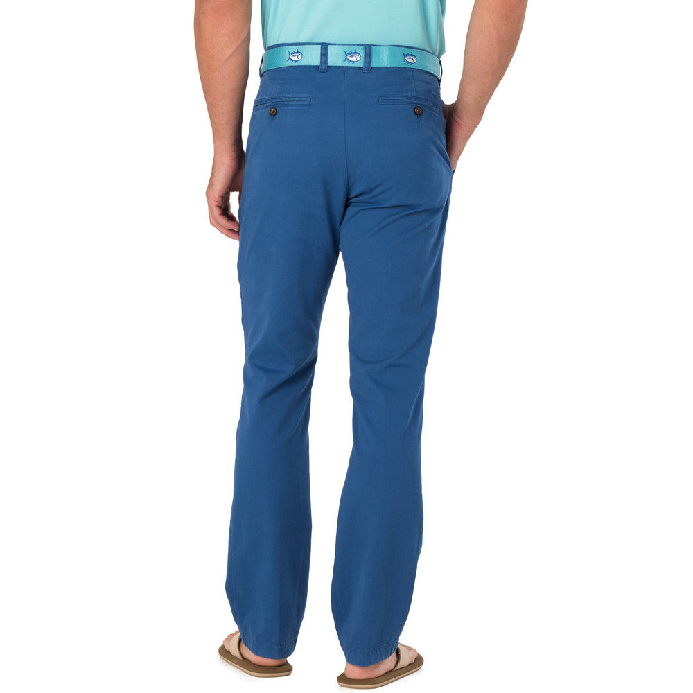 Mens Southern Tide The Skipjack Trim Fit Unfinished Hem Pant in Blue Cove - Brother's on the Boulevard