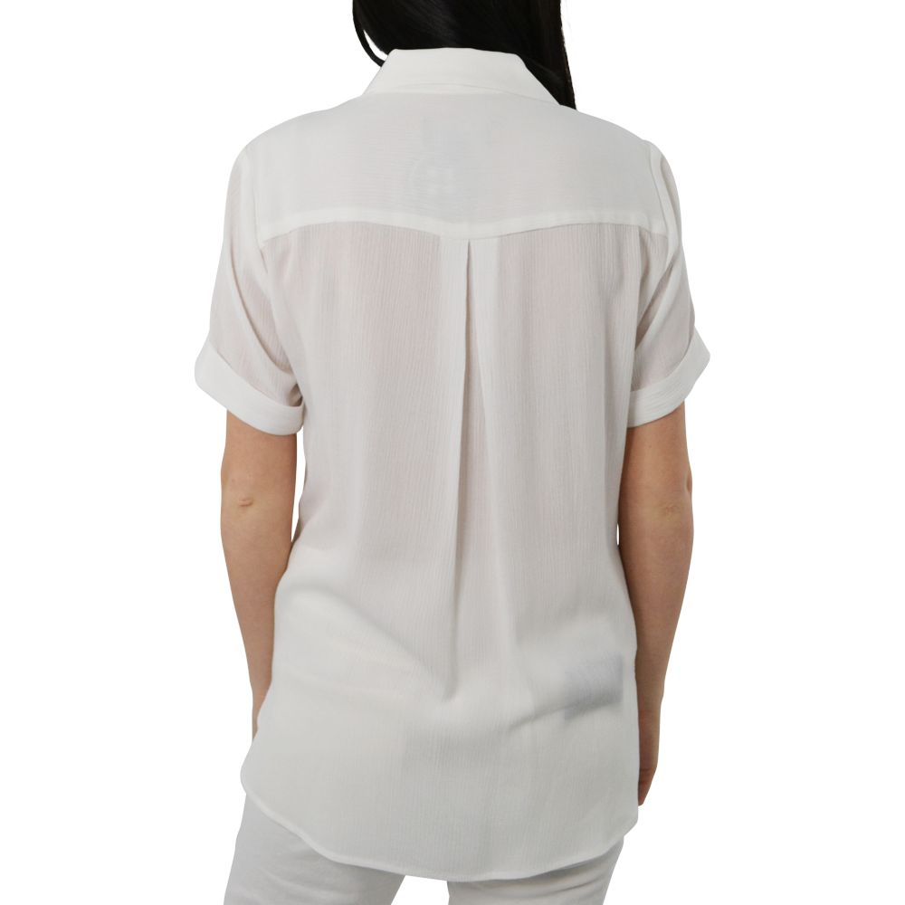Womens Fifteen Twenty Short Sleeve Wrap Shirt in Off-White - Brother's on the Boulevard