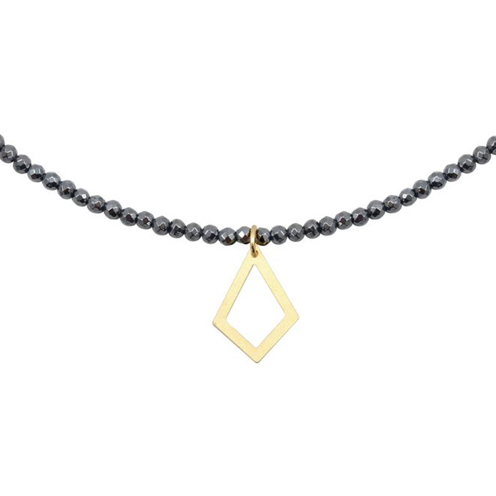 Womens Nicole Leigh Ali Gold Kite Necklace in Hematite - Brother's on the Boulevard