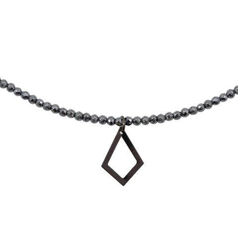 Womens Nicole Leigh Ali Hematite Necklace in Gunmetal Kite - Brother's on the Boulevard