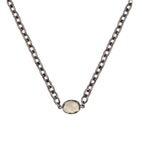 Womens Nicole Leigh Kendall Gunmetal Choker Necklace in Smoky Quartz - Brother's on the Boulevard