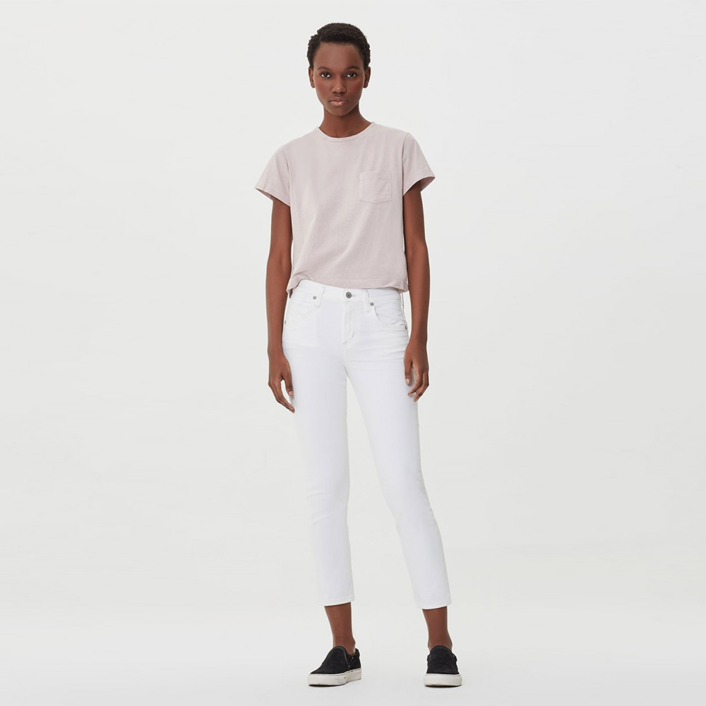 Womens Citizens Of Humanity Elsa Mid Rise Slim Fit Cropped Jean in Sea Salt - Brother's on the Boulevard