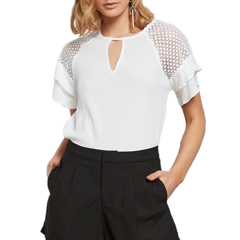 Womens Catherine Kate Mix Top in White - Brother's on the Boulevard