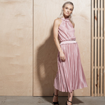 Catherine Kate Illume Pleat Long Dress in Dusty Pink