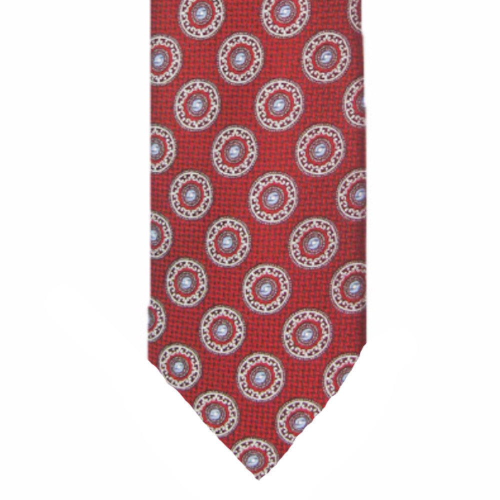 Mens Brother's on the Boulevard Handmade Medallion Necktie in Red - Brother's on the Boulevard