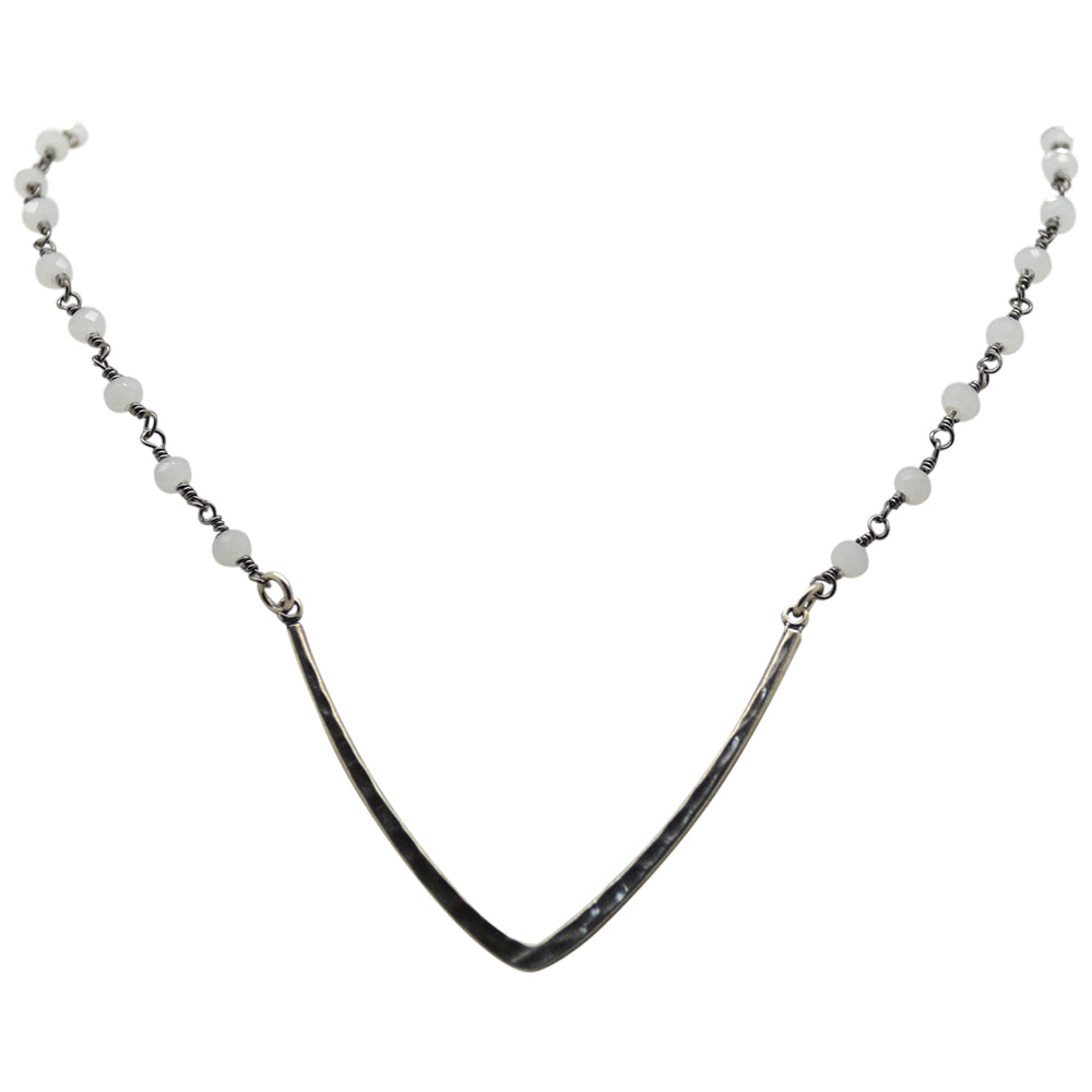 Womens Luxe by Virtue Rosary Choker with Metal V in Silver and White - Brother's on the Boulevard