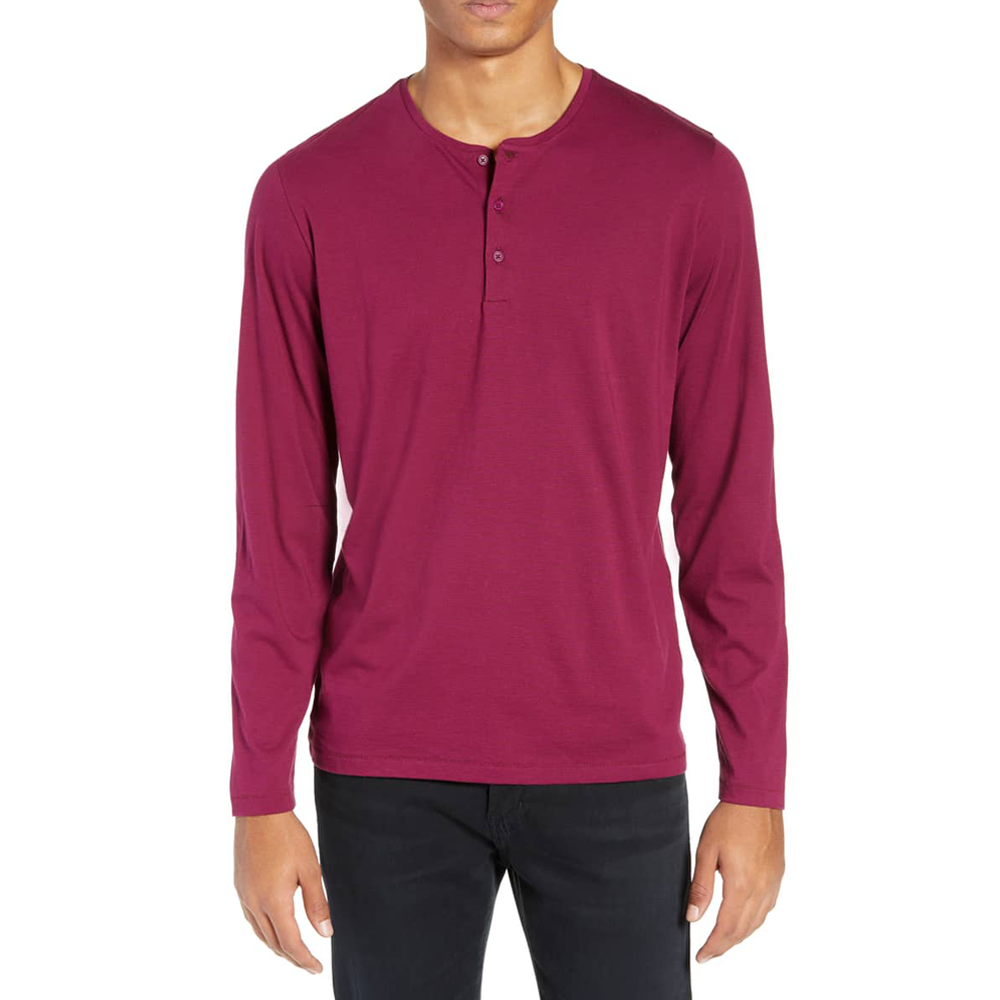 Mens Bonobos Slim Fit Superfine Longsleeve Henley in Pinot Noir Plum Caspia - Brother's on the Boulevard