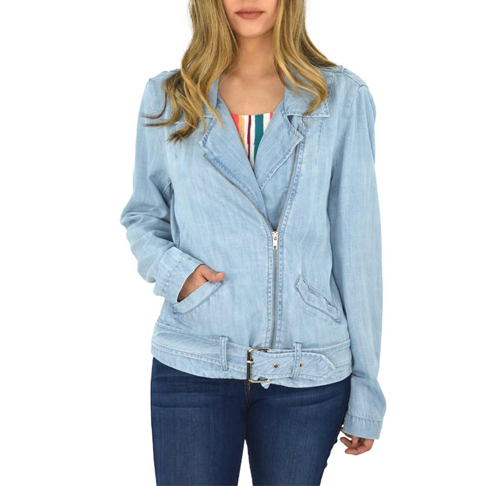 Womens Fifteen Twenty Chambray Denim Moto Jacket in Chambray - Brother's on the Boulevard