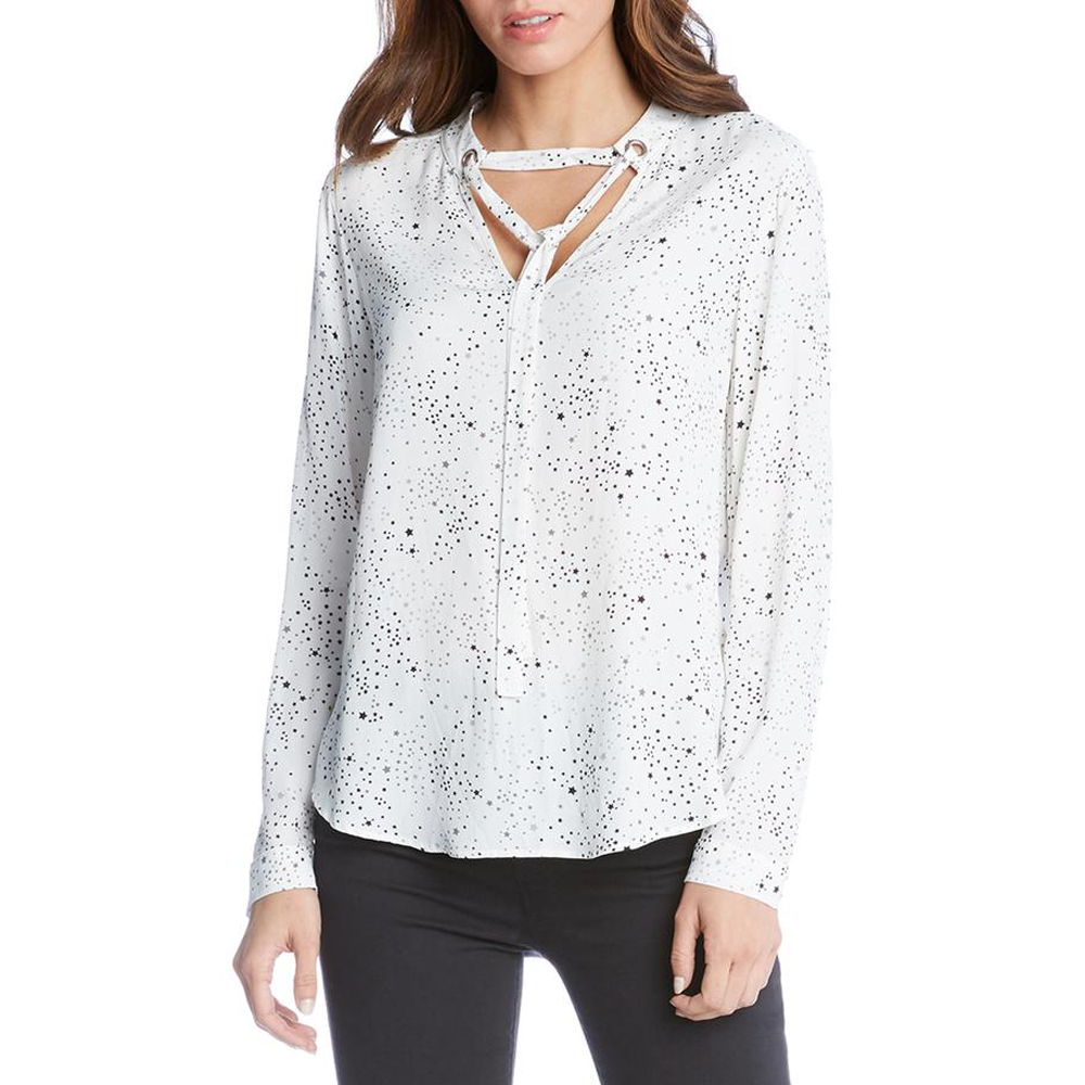 Womens Fifteen Twenty Tie Neck Top in Print - Brother's on the Boulevard