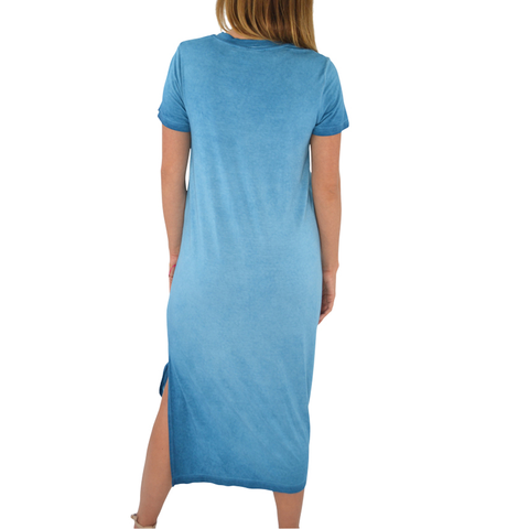 Fifteen Twenty Side Slit T-Shirt Dress in Baltic Blue