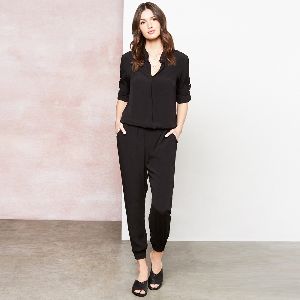 Fifteen Twenty Long Sleeve Button Down Jumpsuit in Black