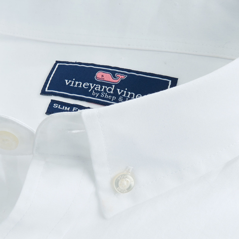 Vineyard Vines End On End Slim Tucker Shirt in White Cap