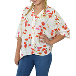 NYLA Poppy Print Oversize Top in Cream