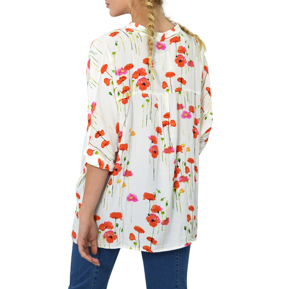 Womens NYLA Poppy Print Oversize Top in Cream - Brother's on the Boulevard