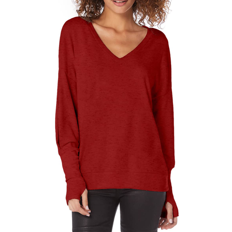 Womens Michael Stars Long Sleeve V Neck Knit Top in Heart - Brother's on the Boulevard