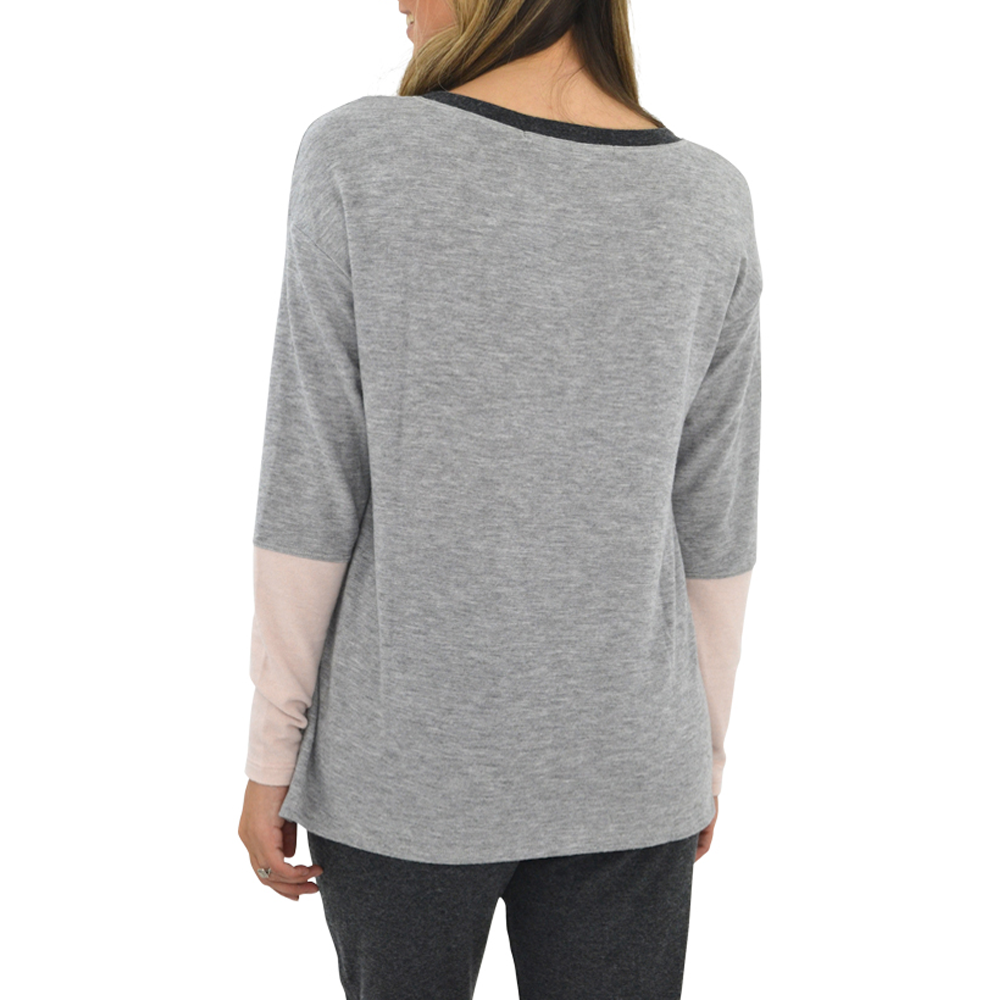 Womens Michael Stars Madison Color Block Boat Neck Sweater in Heather Grey - Brother's on the Boulevard