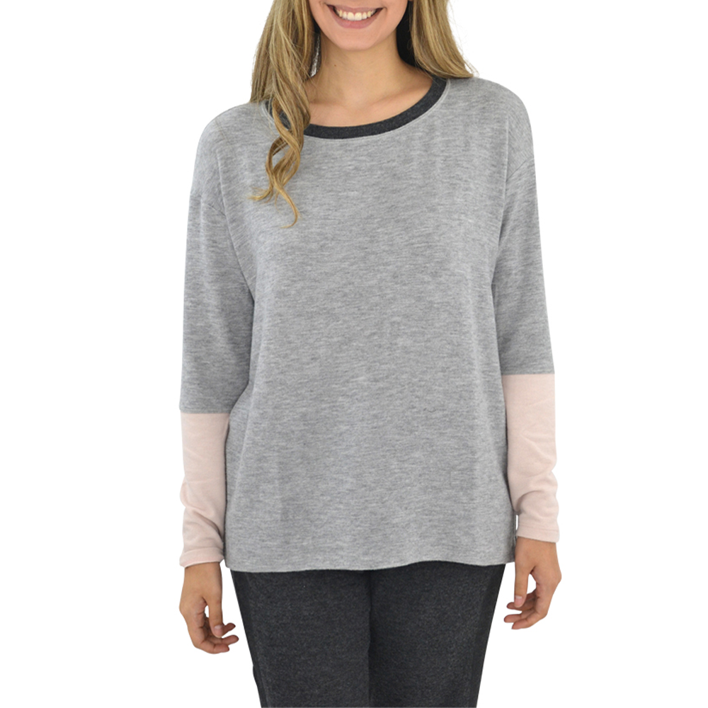Michael Stars Madison Color Block Boat Neck Sweater in Heather Grey