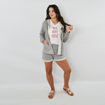 Womens NYLA Brooklyn Vegan Suede Shorts in Soft Grey - Brother's on the Boulevard