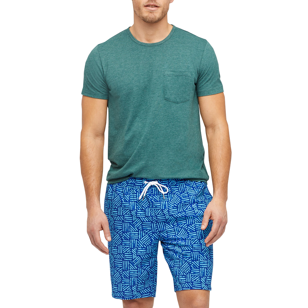 "Mens Bonobos Banzai E-Waist 9"" Swim Trunk in Blue Scratch Pattern - Brother's on the Boulevard"
