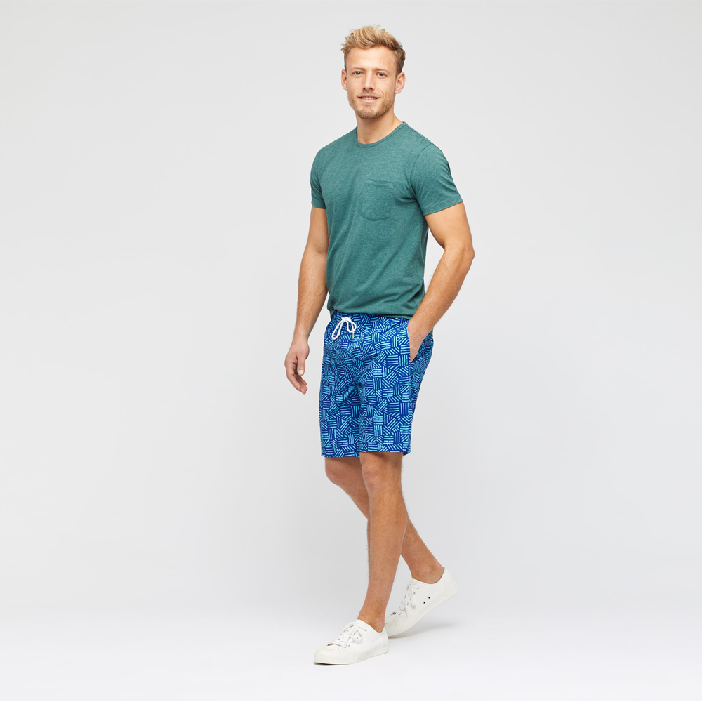 Mens Bonobos Banzai E-Waist Swim Trunk in Blue Scratch Pattern - Brother's on the Boulevard