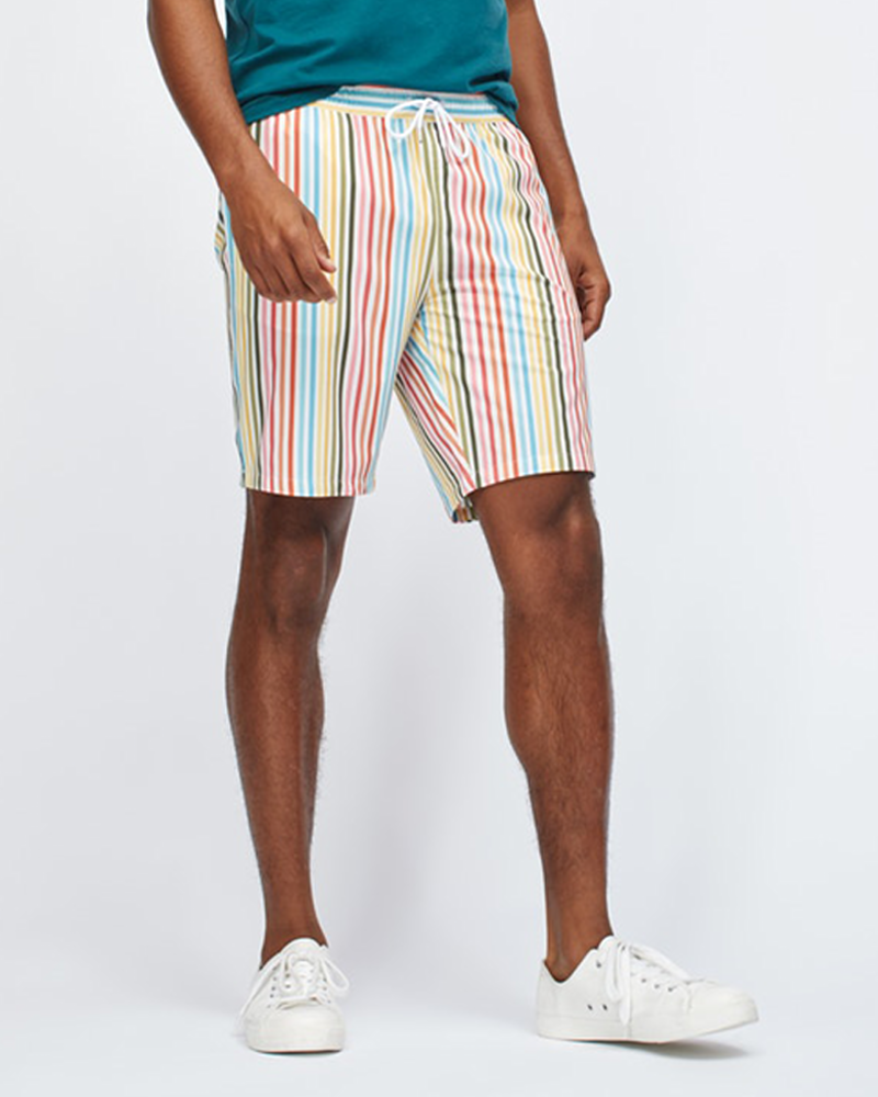 Bonobos Bonzai E-Waist Trunks in White Multi-Stripe