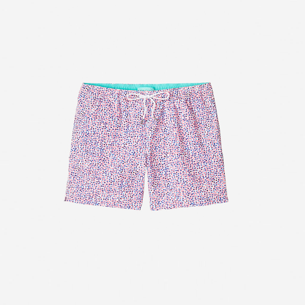 Mens Bonobos Banzai E-Waist Swim Trunks in Pink Tossed Confetti - Brother's on the Boulevard