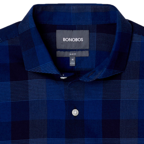 Mens Bonobos Unbutton Down Shirt in Blue Aberdine Glenplaid - Brother's on the Boulevard
