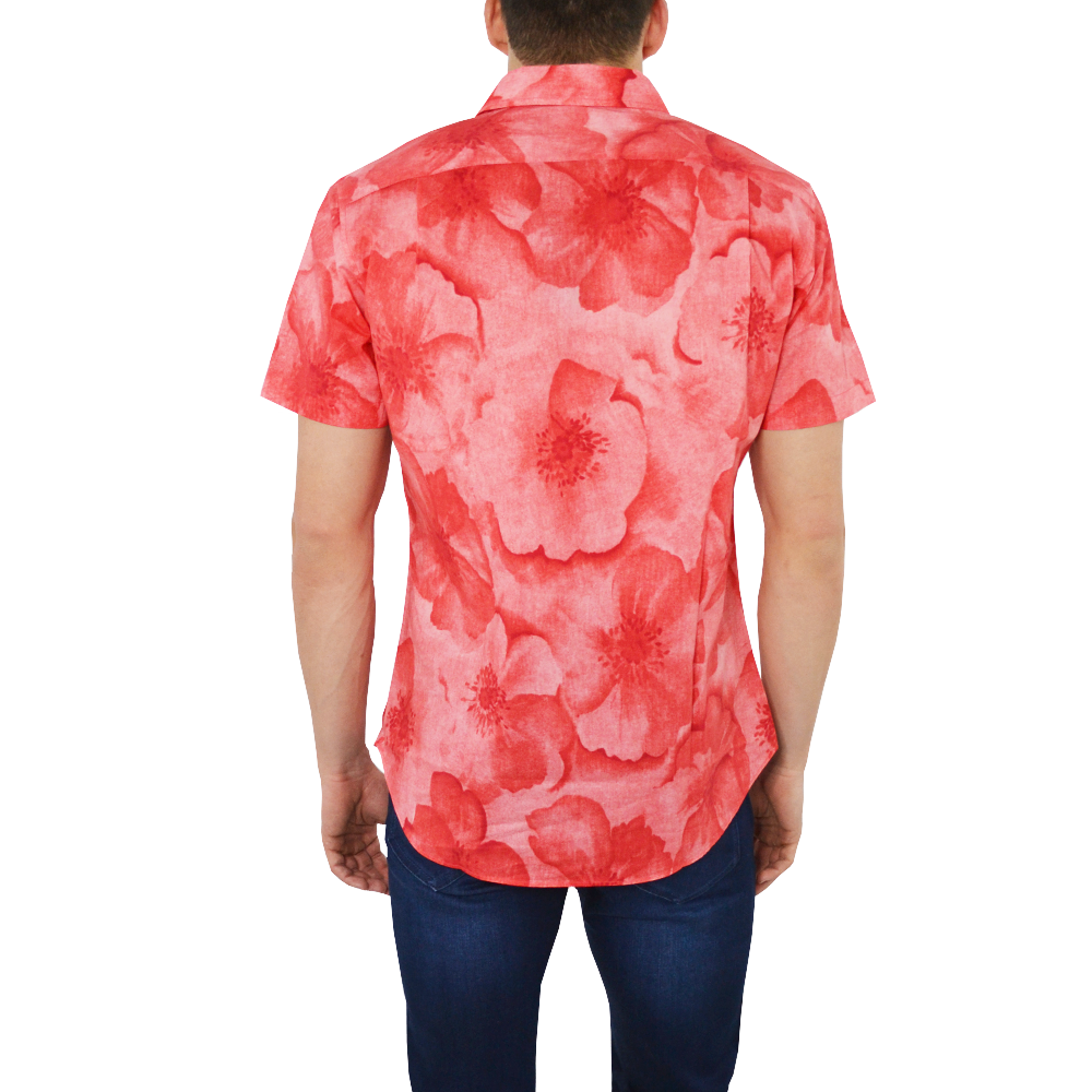 Mens Bonobos Short Sleeve Riviera Slim Fit Button Down in Coral Floral - Brother's on the Boulevard
