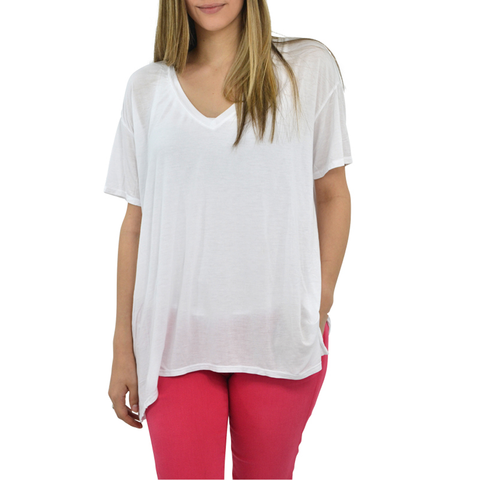 Womens Michael Stars V-Neck Top in White - Brother's on the Boulevard