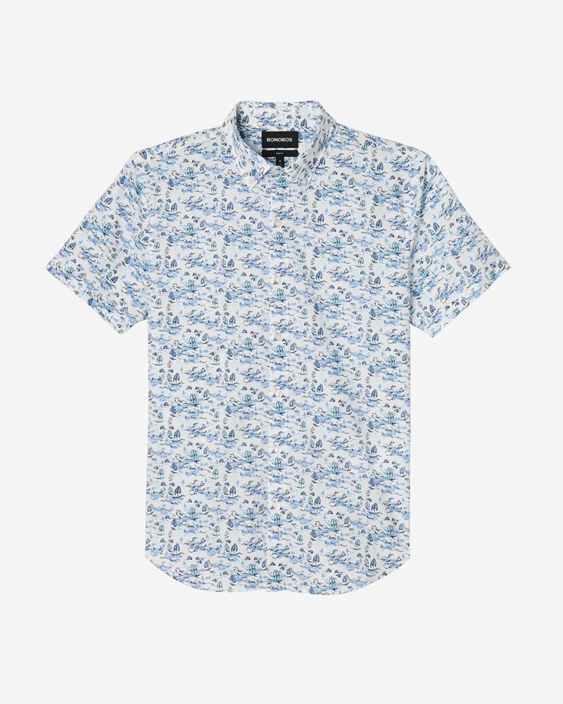 Bonobos Riviera Short Sleeve Button Down in Blue and White Sailing