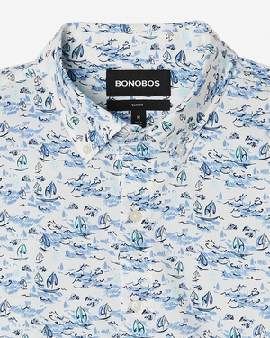 Mens Bonobos Riviera Short Sleeve Button Down in Blue and White Sailing - Brother's on the Boulevard