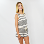 Michael Stars Kylie Striped Romper in Chalk