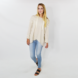 Womens Fifteen Twenty Asymmetric Hoodie in Stripe - Brother's on the Boulevard