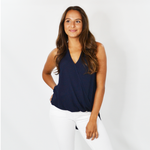 Fifteen Twenty High Low V Neck Tank in Navy