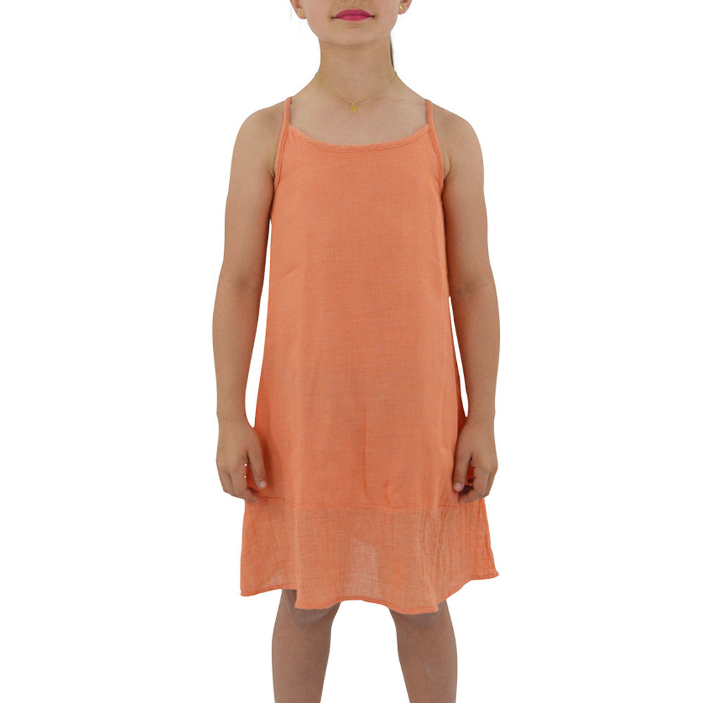 Weekend Vibes Girls Woven Dress in Orange