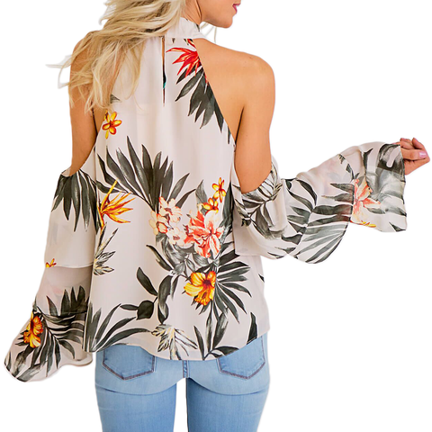 Karlie Maui Tropical Cold Shoulder Ruffle Sleeve Top in Taupe