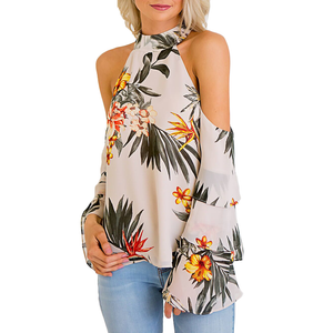 Womens Karlie Maui Tropical Cold Shoulder Ruffle Sleeve Top in Taupe - Brother's on the Boulevard