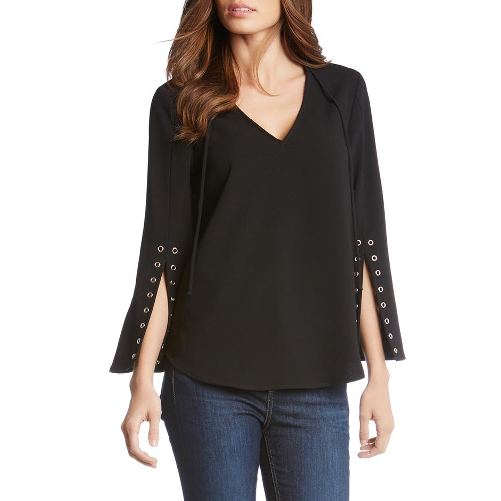 Womens Fifteen Twenty Gromment Sleeve Tie Top in Black - Brother's on the Boulevard