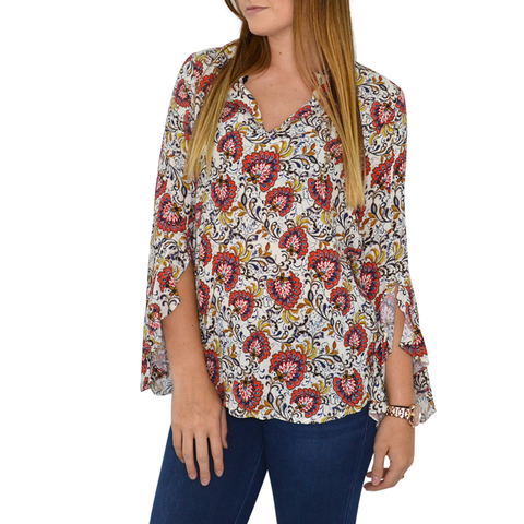 Womens Fifteen Twenty Ruffle Sleeve Top in Print - Brother's on the Boulevard