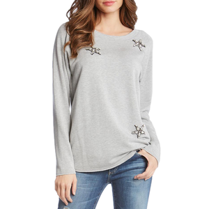 Womens Fifteen Twenty Star Embellished Sweat Shirt in Light Grey - Brother's on the Boulevard