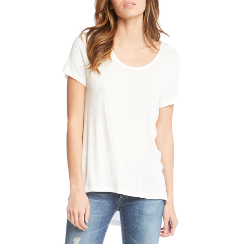 Womens Fifteen Twenty Textured Short Sleeve Tee in Off White - Brother's on the Boulevard