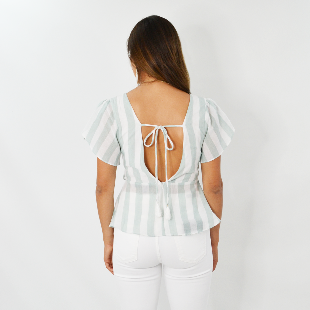Womens Rouge Stripe Top with Tassel Tie in Sage - Brother's on the Boulevard
