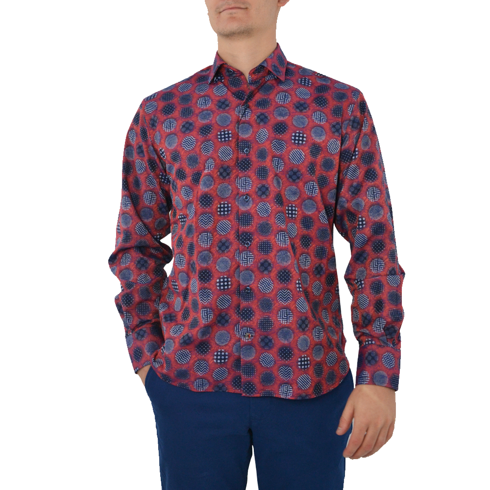 Luchiano Visconti Button Down Dress Shirt in Gingham Dot