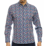 Luchiano Visconti Button Down Dress Shirt in Patriotic Paisley