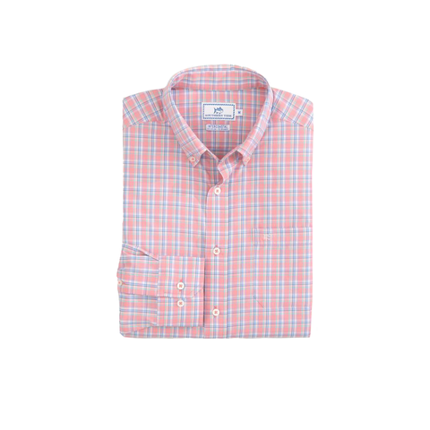 Mens Southern Tide Watersedge Plaid Intercoastal Performance Shirt in Light Coral - Brother's on the Boulevard