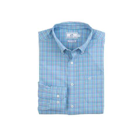 Mens Southern Tide Watersedge Plaid Intercoastal Performance Shirt in Ocean Channel - Brother's on the Boulevard