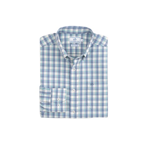 Mens Southern Tide Salt Cedar Plaid Intercoastal Performance Shirt in Colony Blue - Brother's on the Boulevard
