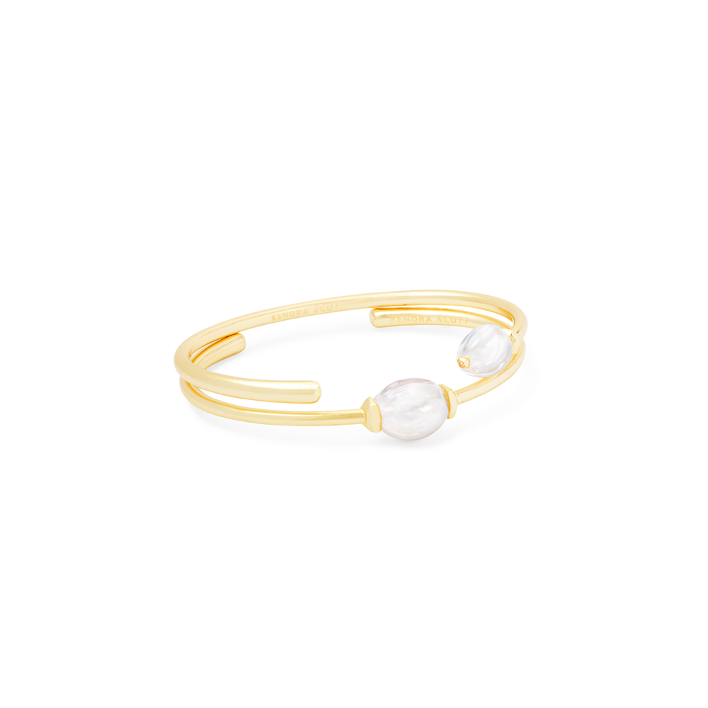 Womens Kendra Scott Amiya Baroque Gold Cuff Bracelet in Pearl - Brother's on the Boulevard