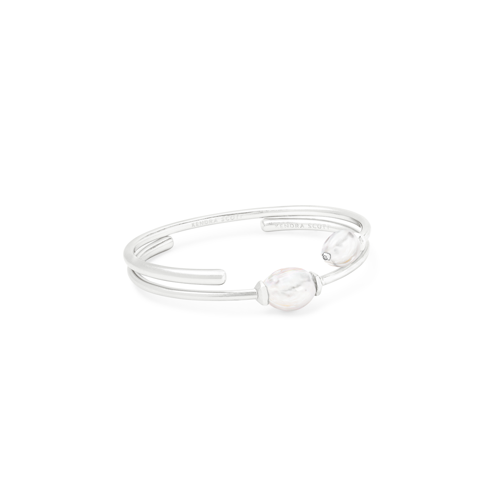Womens Kendra Scott Amiya Baroque Bright Silver Cuff Bracelet In Pearl - Brother's on the Boulevard