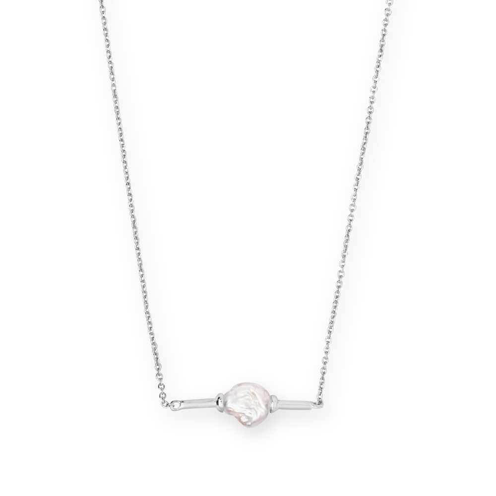 Kendra Scott Emberly Baroque Bright Silver Pendant Necklace In Pearl